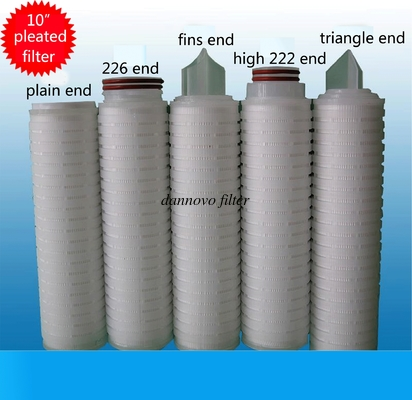 China 10 inch PP Membrane PP Pleated Filter Cartridge with 0.22 Micron factory